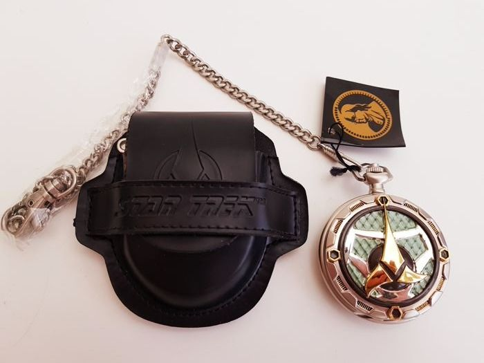 Star Trek limited edition silver-plated and 24ct gold-plated pocket watch with a leather cover