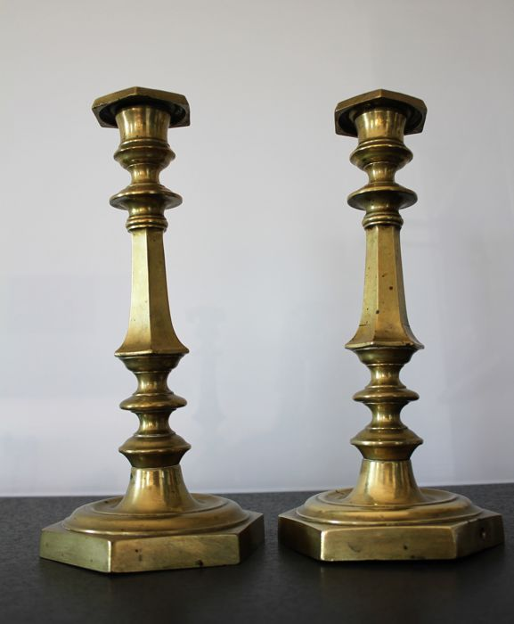 Pair of brass candlesticks - France - 19th century