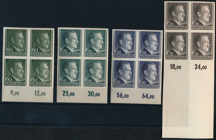 Generalgouvernement – 1941 – free postal stamps Hitler in blocks of four imperforate Michel 87 U