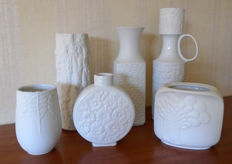 Bavaria - Six biscuit porcelain vases in Op Art style