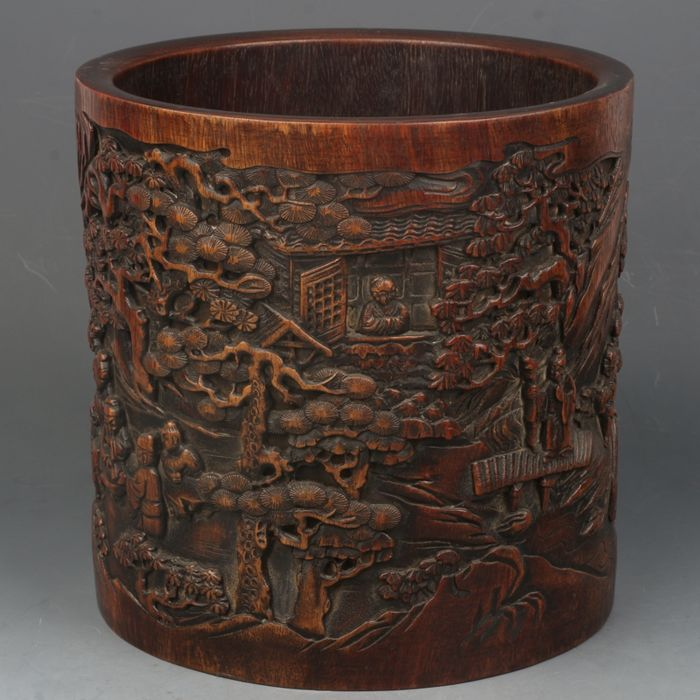 A decorative wooden brushpot - China - 21st century