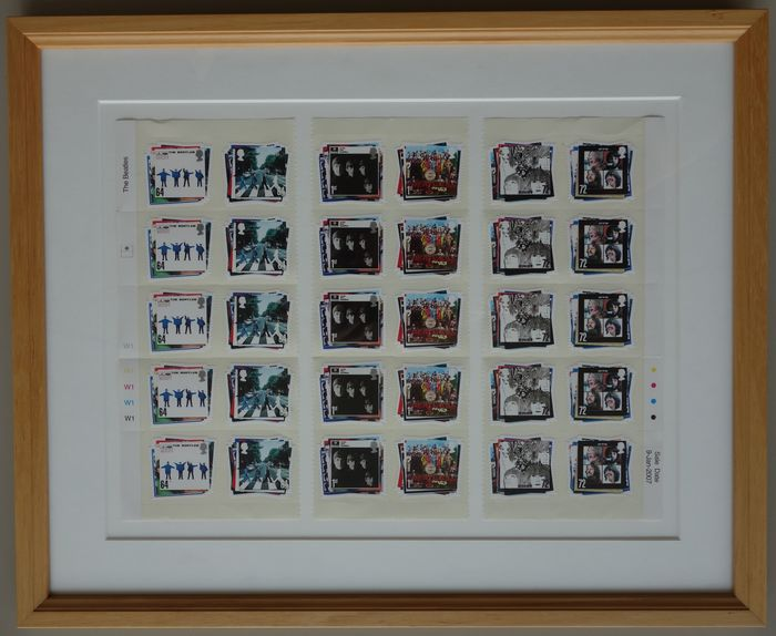 The Beatles, John Lennon & Yoko Ono  - complete set of UK stamps 2007 & XL photo of the Bed-In both framed