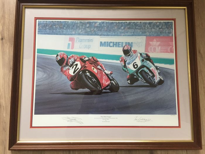 "Repro ""Red Mist Foggy"" gesigneerd door Carl Fogarty"