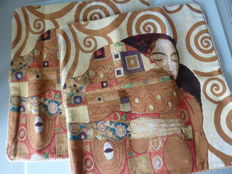 Pair of cushions in tapestry representing a double-sided detail from a Klimt painting