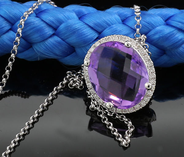 Amethyst brilliant necklace 3.15 ct in total with briolette facetted amethyst, 750 white gold --- no reserve price ---