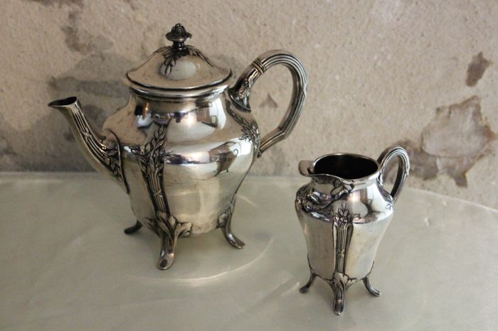 "Christofle, Paris - Gallia silversmiths - Teapot and milk jug - unusual hallmark: Charles Christofle with a ""dog's head"""