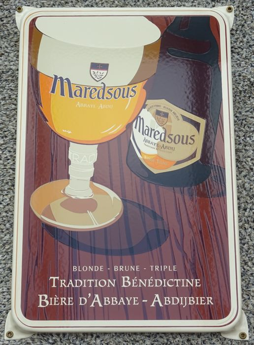 Robust enamel advertising sign of Maredsous