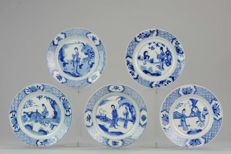 5  Kangxi blue and  white Plates - China - ca 1680-1700