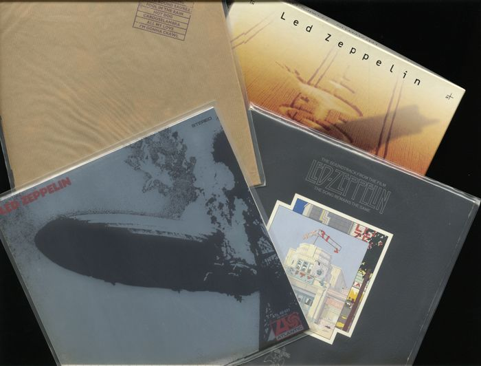 A Led Zeppelin set of three (3) vinyl albums and this Led Zeppelin four (4) CD compact disc set + booklet in wonderful condition