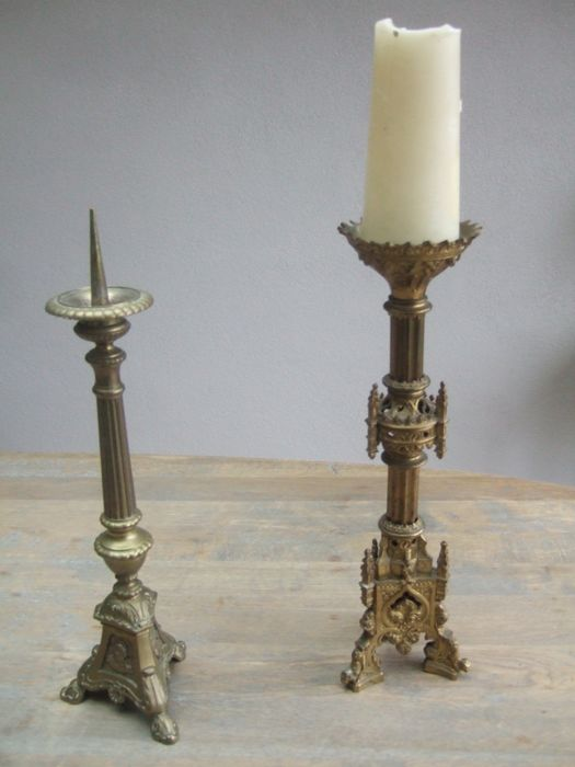 2 beautiful cast brass church candlesticks from the 19th century