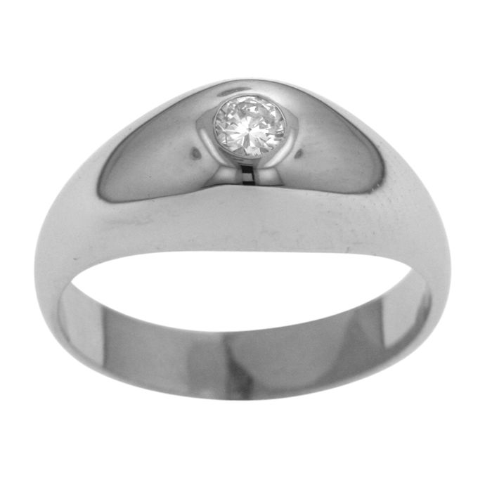 750 Gold Mens Ring 0 18ct Diamond Solitair Ring size 56 17 3 4 P