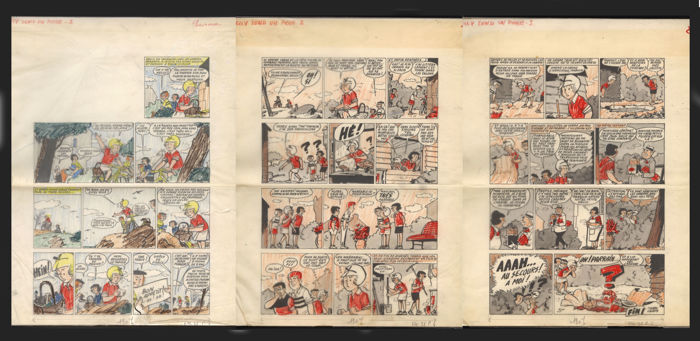 Lacroix, Pierre - Three original pages for a complete story + colour layers - 'Nelly tend un piège' - (1964)