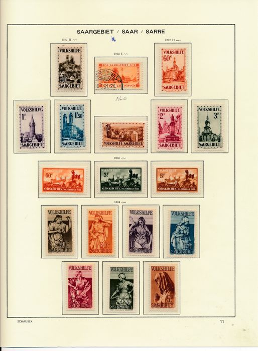 Saar region - 1920 - 1934 - advanced collection with Michel numbers 1-17, good Volkshilfe sets and official stamps on Schaubek album sides