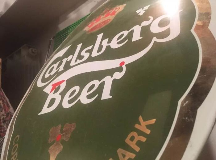 Insegna Smaltata Carlsberg birra beer Tabella scudo Plaque sign