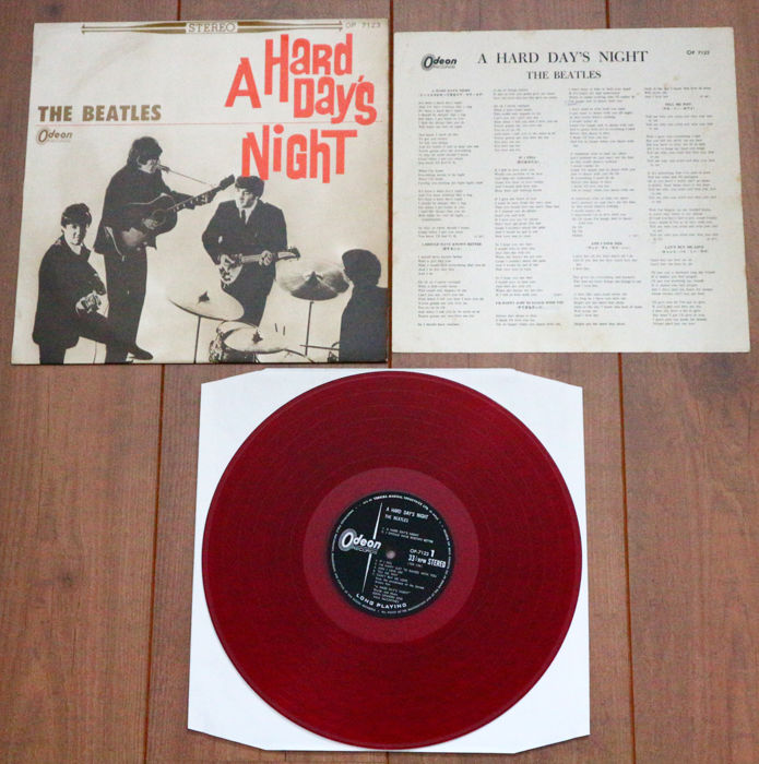 The Beatles- A Hard Day's Night lp/ 1st Japanese stereo pressing on RED wax & w. alternate (flipback) sleeve! VG+/VG++