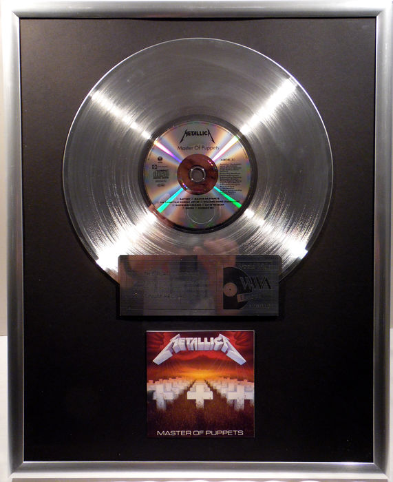 "Metallica - Master of Puppets -  12"" Vertigo Music platinum plated record with CD and cover by WWA gold Awards"