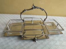 Antique English silver plated appetiser basket with 2 glass liners and elegant handle in metal casting, marked Maple & Co.