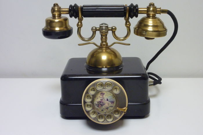Antique office desk telephone ca.1930 with rotary dial