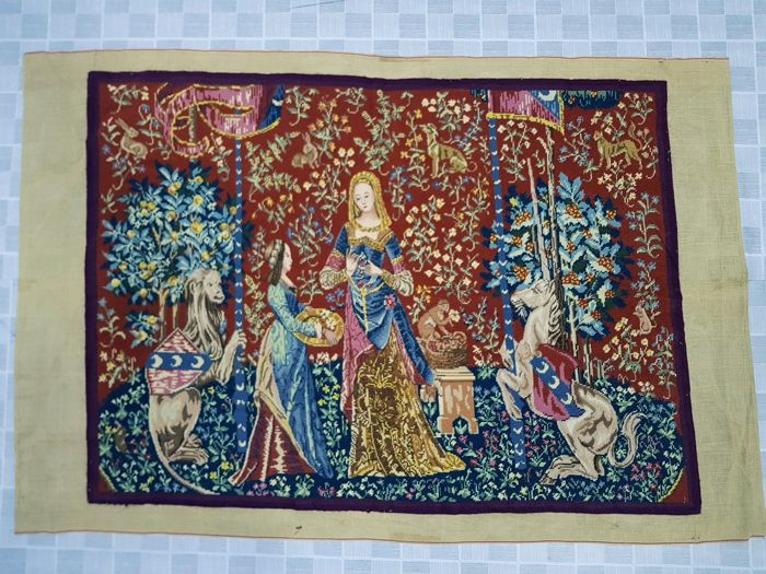 Vintage Pictorial Tapestry France Hand Woven - 80 cm x 108 cm