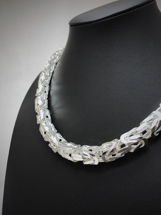 Silver (925 kt) King's braid link necklace - Length 55 cm - Width 6 mm - 110 g