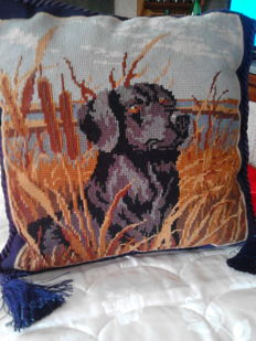 """""""Dog"""" pillow with needlepoint handmade embroidery"""