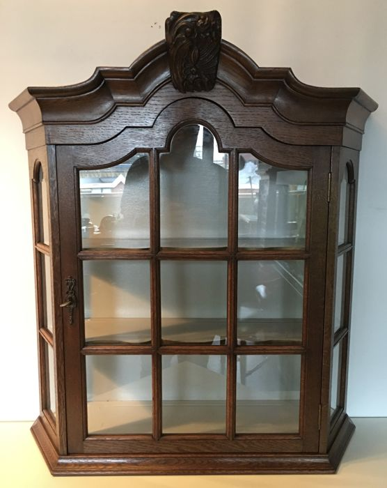 Original Dutch oak wooden (large size) hanging display cabinet, first half 20th century