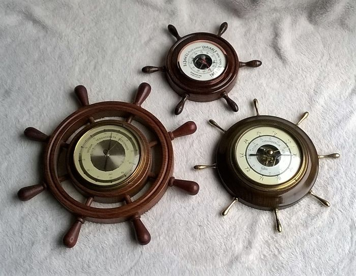 3 barometers in the shape of a helm / rudder with mahogany housing, Barigo and Scholz Germany