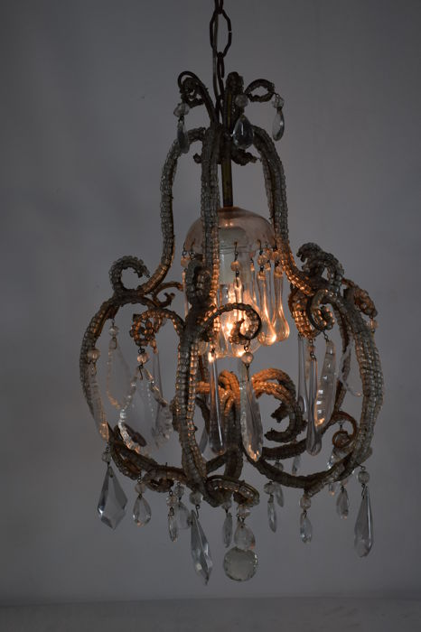 Crystal glass pendants and beads Chandelier - Italy - early 20th century