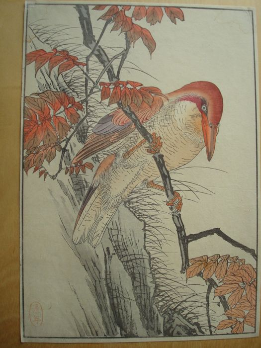 "Original woodblock print by Imao Keinen (1845-1923) -  'Kingfisher in Wax Tree' from ""Keinen Gafu"" - Japan - 1891"