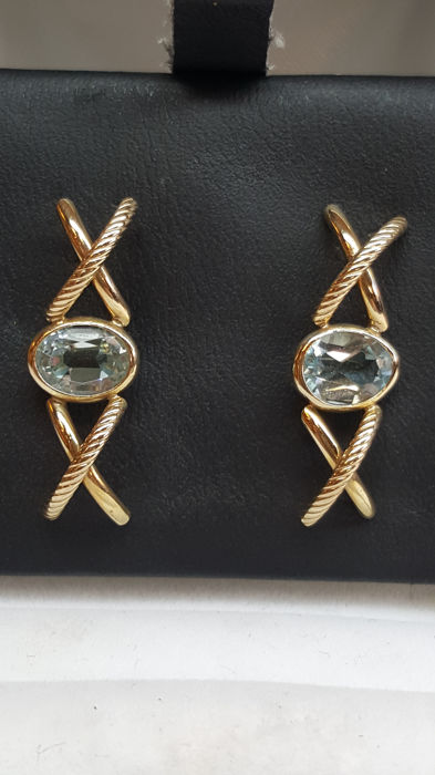 14 kt yellow / white gold earrings set with Aquamarine