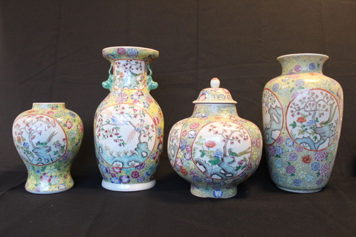 Collection Of 4 Beautiful Chinese Vases Famille Verte Floral