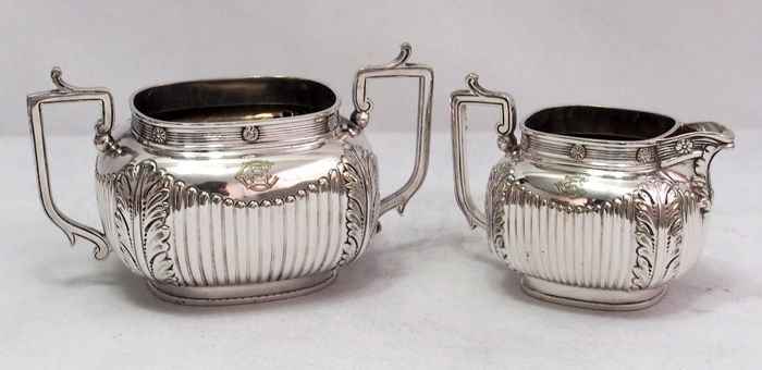 Antique Sugar Pot And Creamer Jug By William Hutton & Son, England 1864 - 1896