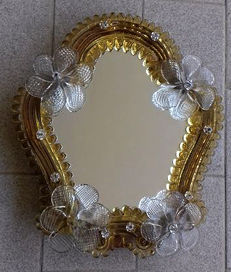 Murano opal glass wall mirror - Venice, Italy, beginning of the 20th century