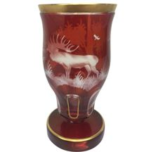 Bohemian glass goblet with gilt edges