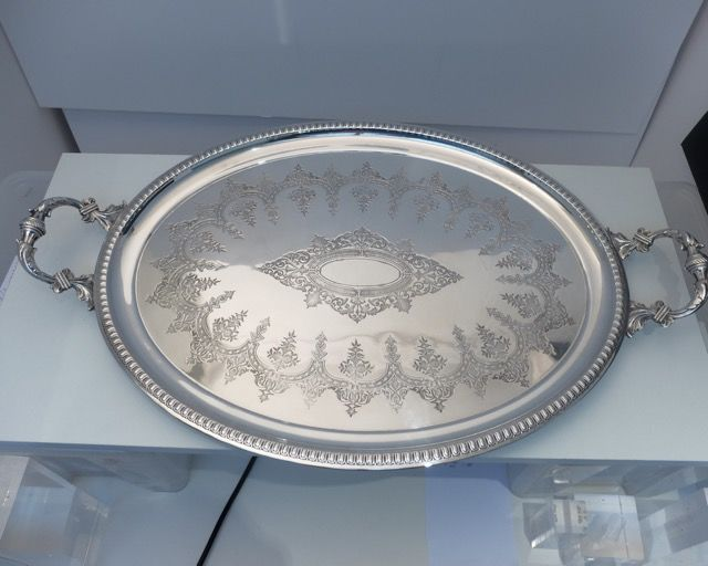Antique, silver plated, very large, decorated, oval serving tray. United Kingdom first half 20th century