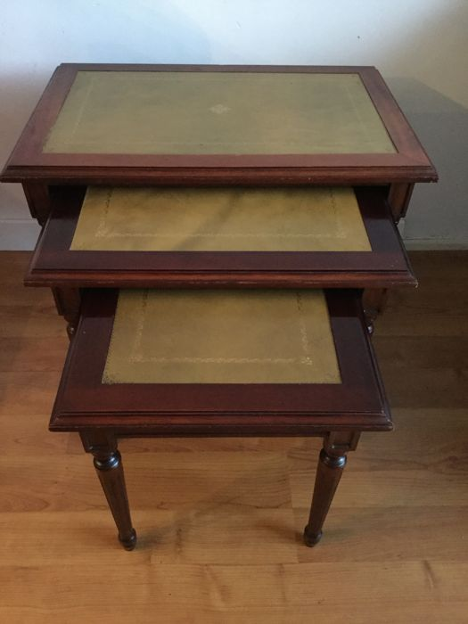 Mahogany Wood Mimi Set With Green Gold Leather With Inlaid Table Tops,  England,