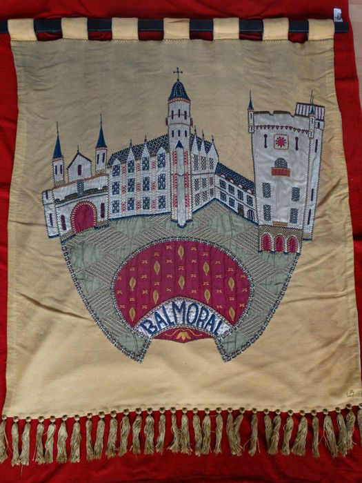 Tapestry of Balmoral Castle embroidered by Willy Bossinade (b 1927), 1964