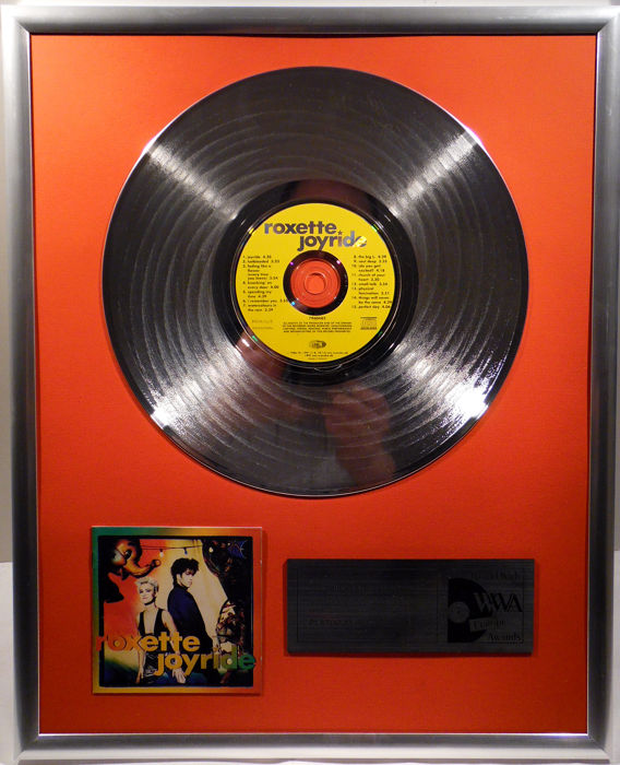"""Roxette - Joyride -  12"""" EMI Music platinum plated record with CD and cover by WWA gold Awards"""