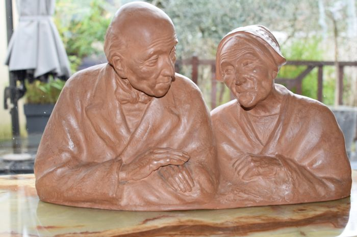 Gaston Hauchecorne (1880-1945) - Aging couple - Terracotta sculpture