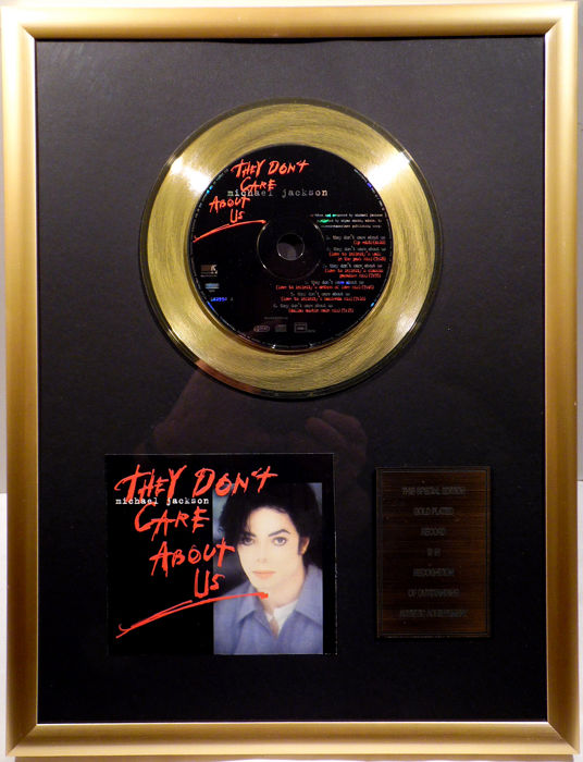 "Michael Jackson - They don't care about us - 7"" Single CD Records golden plated record Special Gold Edition"