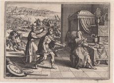 1 X Matthäus Merian 1640, 1 X Anonymous ca1760 - Woman in Babylon/Biblical scene