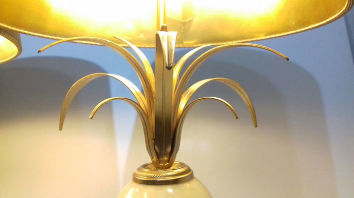 A Very Nice Pair Of Gilded Faux Marble Table Lamps