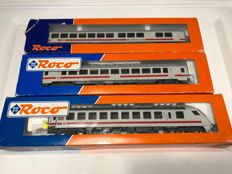 Roco H0 carriage set 3 piece with driving van trailer DB-AG 2. KL passenger carriage/ control car/ Board restaurant