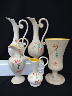 Hubert Bequet - Five ceramic vases