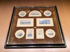 A commemorative framed set of nine miniature watercolours representing the laying of submarine cable in the Atlantic between England and the United States in 1884