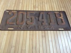NEW YORK LICENSE PLATE 1924