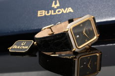 Bulova Vintage Unisex with gold-plated finishing and crocodile leather strap.