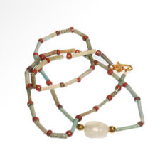 Egyptian Crystal Scarab in Faience and Gold Necklace, 58.5 cm