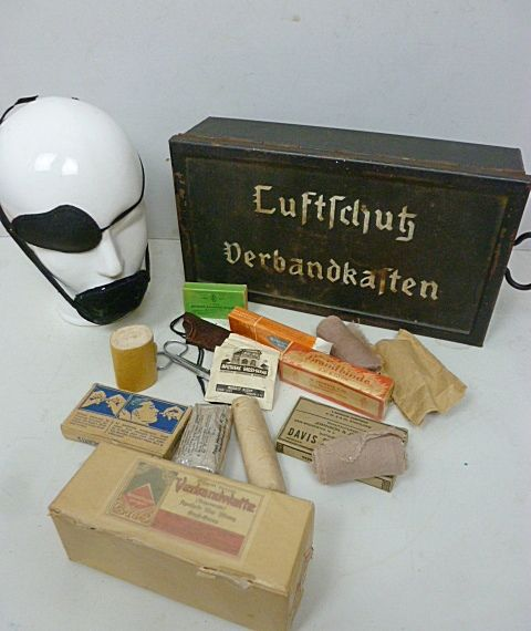 German Luftschutz Bandage boxes, with content!