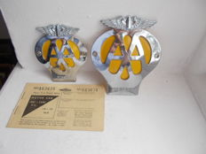2  X  vintage AA  BADGES  1 chrome on brass car badge and 1  motor cycle chrome on brass and a motor car fuel ration book unsued